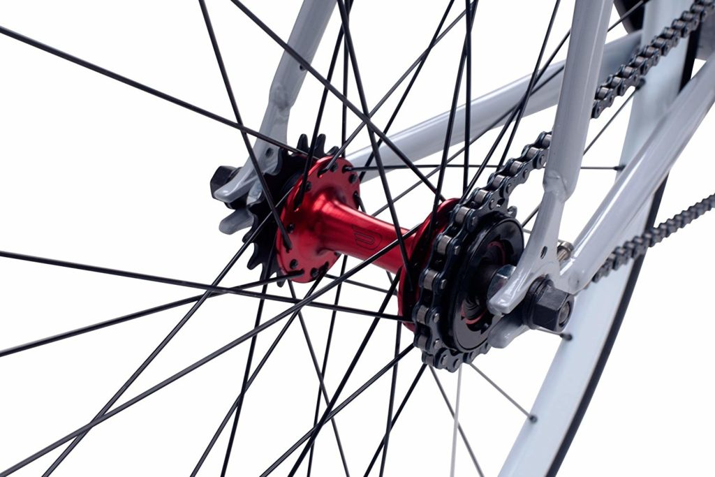 An image of the drive train of a Pure Fix Fixie intended to show the flip flop hub for the fixie review