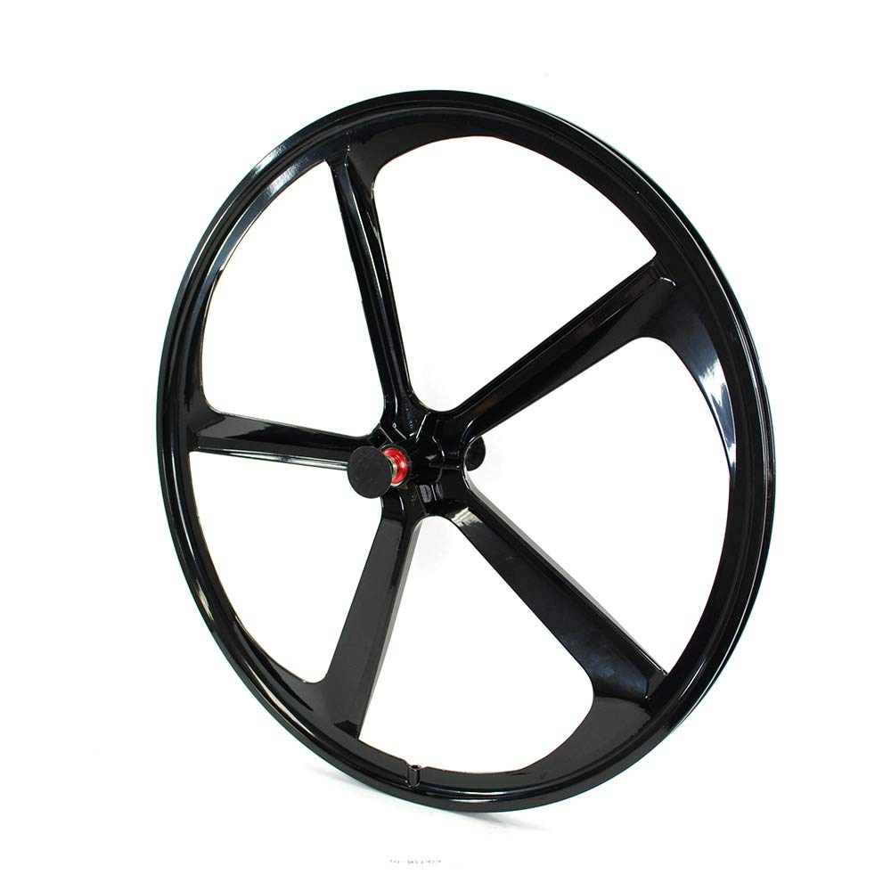 An image of a 5-spoke iMeshbean front fixie wheel