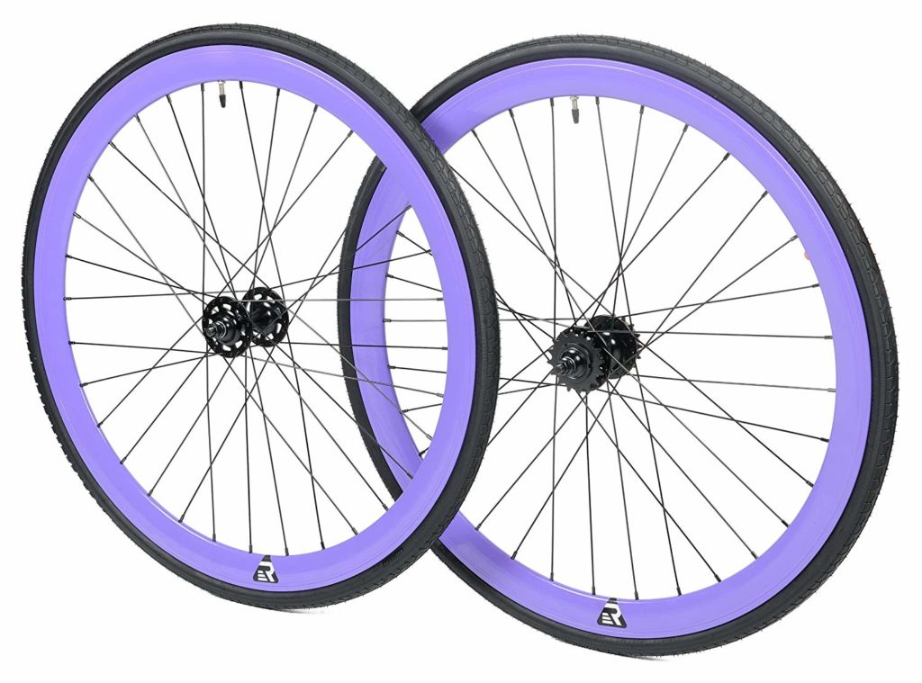 An image of the purple retrospec mantra fixie wheels