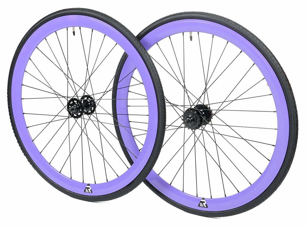 An image of the purple retrospec mantra fixie wheels