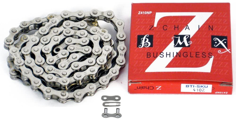An image of the KMC Z410 chain next to its packaging as well as an expanded view of a chain link.