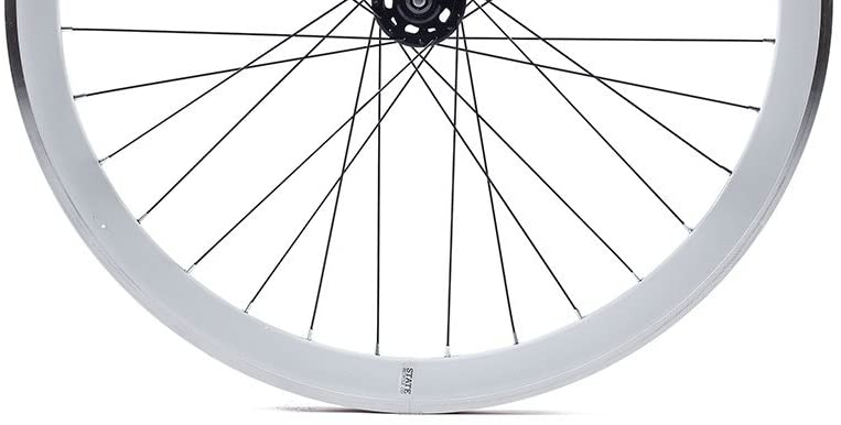 An up close profile view of the State Cycle Deep V rims, showing off the thicker 40mm rims for a review of the wheelset.