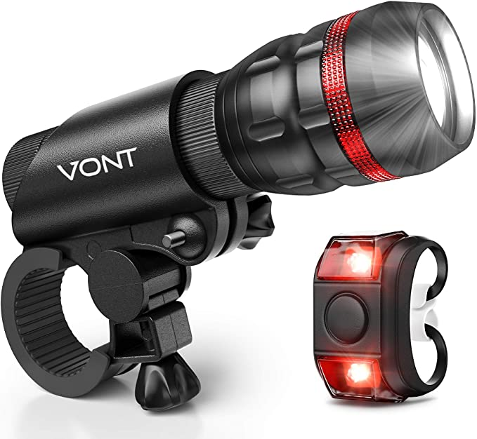 A product of the Vont Scope Fixie bike light, showing off the difference between the front and rear lights.