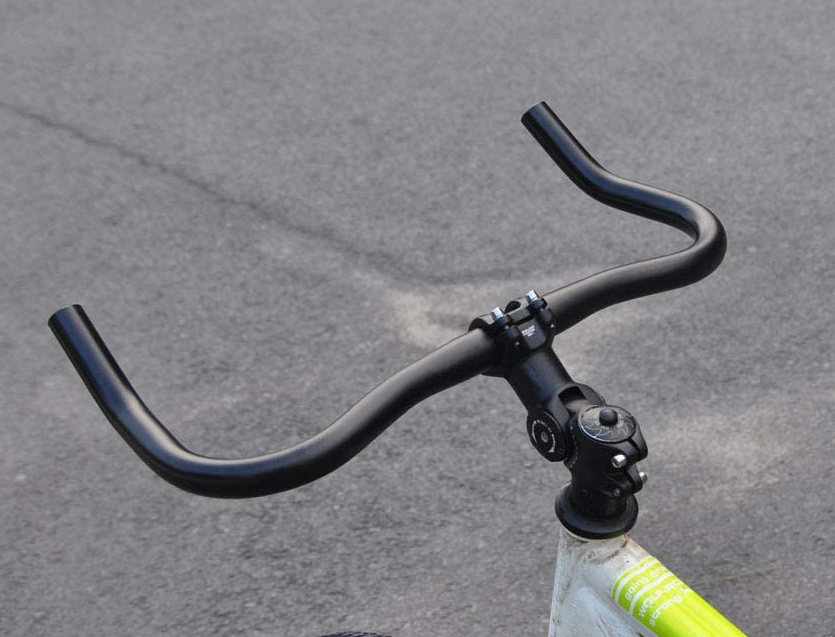 A rear view of the upanbike fixie bullhorns mounted on a bike, showing off the handlebars for a list of the best fixie handlebars.
