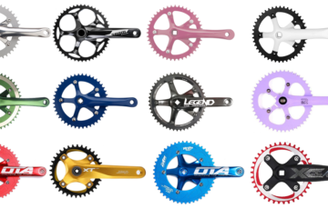 A collage of fixed gear cranks, intended to show off the range of cranksets available online for a list of the 5 best fixie cranks.