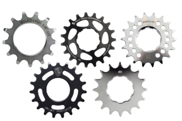 An image of 5 of the best fixie cogs on a white background serving as a featured image for a list of the best fixie cogs you can buy online.