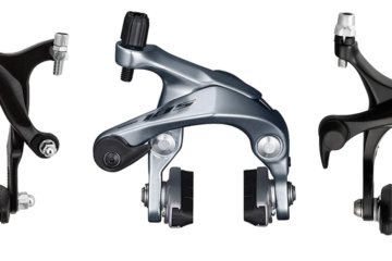An image of 3 different brake calipers, intended to show off different fixie brakes for a review of the best fixie brakes you can buy online